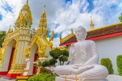 White buddha statue. Royalty Free Stock Images