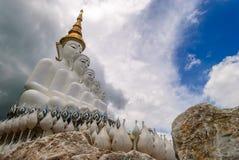 5 white buddha statue at Wat Phra Thart Pha Kaew stock photos