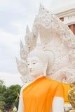 White buddha status in Thailand public temple Stock Photos