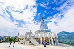 White buddha in Wat Phra That Pha Son Kaew temple at Phetchabun royalty free stock photo
