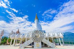 White buddha in Wat Phra That Pha Son Kaew temple at Phetchabun royalty free stock images