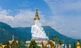 White buddha in Wat Phra That Pha Son Kaew temple at Phetchabun. Big White Five buddha Statue in Wat Phra That Pha Son Kaew temple at Phetchabun Thailand royalty free stock image