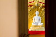 White buddha in Wat Sangkat Rattana Khiri on Khao Sakae Krang mo Royalty Free Stock Photography