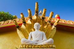 White buddha in Wat Sangkat Rattana Khiri on Khao Sakae Krang mo Stock Image