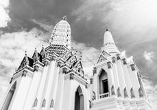 White buddhism  church temple  Bangkok Thailand Stock Images