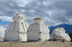 White buddhist chortens Royalty Free Stock Images