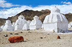 White buddhist chortens Stock Photo