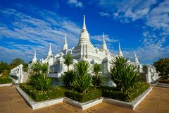 White Buddhist Pagoda with multiple spires at Wat Asokara Temple in Thailand Stock Image