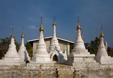 White Buddhist Stupas. Indein Stock Image