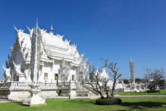 White Buddhist Temple in Thailand Royalty Free Stock Photo