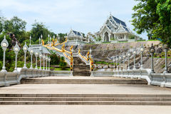White buddhist temple in Thailand Royalty Free Stock Image