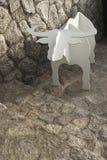 White Buffalo Jigsaw. Stands on the rock sidewalk Royalty Free Stock Photos
