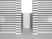 White Building Construction. Abstract Architecture Background. 3d Render Illustration stock illustration