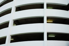 White building with fluorescent light tube Royalty Free Stock Photography