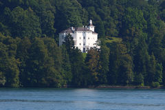White building near the Lucerne lake Royalty Free Stock Images