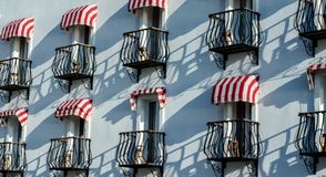 French Style Balconies on white wall royalty free stock photography