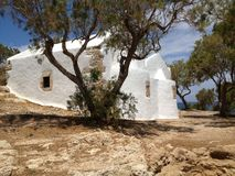White building. Vintage white building on the shore of the sea of Crete Royalty Free Stock Images