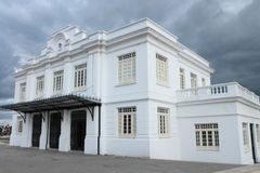 White Building Zipaquira Colombia. Behind a dark, rainy sky stock photos