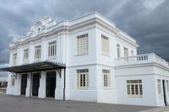 White Building Zipaquira Colombia. Behind a dark, rainy sky Stock Photos