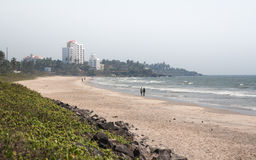 White buildings on the beach. Beaches in Kannur, Kerala, India, South Asia Royalty Free Stock Photo