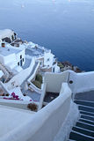 White buildings of Oia village at sunset, Santorini island, Gree Stock Photography
