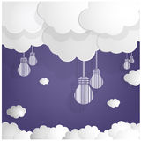 White bulbs and clouds on blue sky background. Blue sky background with lamp bulb symbols . illustration Stock Photography