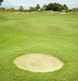 White bunker hole. Sand trap at golf course Royalty Free Stock Photos