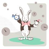 White Rabbit stands with a clock and a cup of tea. The white bunny, Alice in Wonderland character, standing in a green field and playing with clocks and a cup of vector illustration