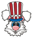 White bunny in the American hat Stock Image