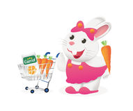 White bunny with carrot in a cart Royalty Free Stock Photos