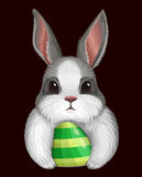 White bunny with egg isolated on dark Royalty Free Stock Photography