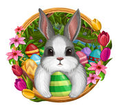 White bunny in frame with eggs and flowers isolated on white Royalty Free Stock Image