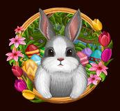 White bunny in frame with flowers isolated on dark Royalty Free Stock Photos