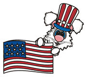 White bunny holding an American flag Royalty Free Stock Photos