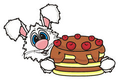White bunny holding a chocolate cake Stock Photo