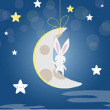 White Bunny moon night royalty free stock photo