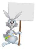 White bunny rabbit with carrot sign Stock Photos