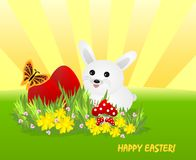White bunny and red Easter eggs, cdr vector royalty free stock images