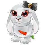 White bunny with red eyes, bitten carrots, and black bow with skull. Funny cartoon pet in the evil character  Stock Image