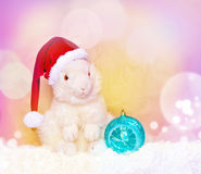 White bunny in Santa hat and ball. Stock Image