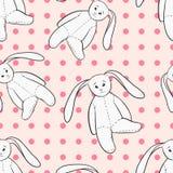 White bunny toys childish seamless pattern Stock Photos