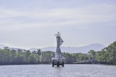 White buoy Navigation or lateral Marks floating in the sea at Thailand royalty free stock image