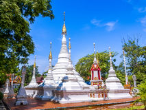 White Burmese style art pagoda in Thai church. Royalty Free Stock Images