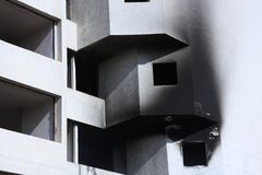A white burned flat at a block stock image