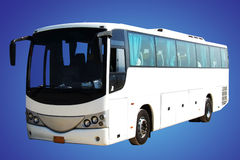 White bus. Isolated in blue background Stock Images