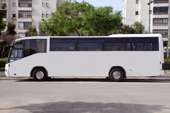 White Bus with Blank panel Royalty Free Stock Images