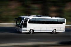 White bus on higway Royalty Free Stock Photos