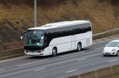 White bus in motion Stock Photo