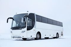 White Bus in Winter Stock Images