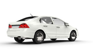 White Business Car Back View Stock Photo